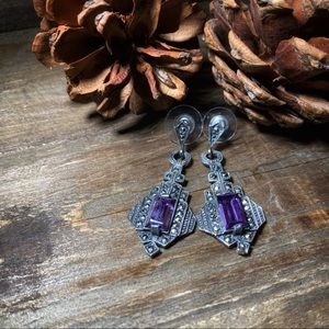 Jewelry - Amethyst & Sterling 925 Marcasite Art Deco Revival